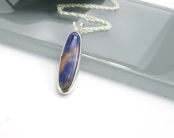 Sodalite pendant necklace with 18 inch Sterling Silver Chain