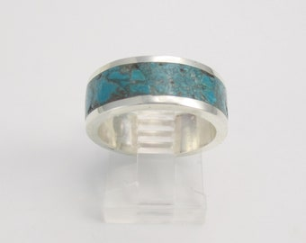 Made To Order, Inlaid Gemstone Ring, Sterling Silver, Made In Your Size