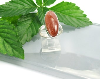 Goldstone Ring set in Sterling Silver, Size 7 1/2