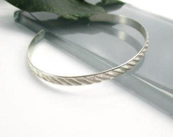 Diagonal Textured Stripe Sterling Silver Cuff Bracelet