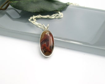 Jasper Pendant Necklace with Sterling Silver 20 inch Chain