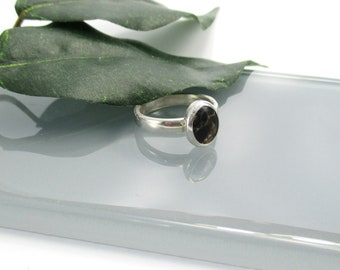 Black Copper Obsidian Ring, Size 6 1/2