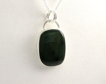 Jade Gemstone Pendant Necklace with 18 inch Sterling Silver Chain