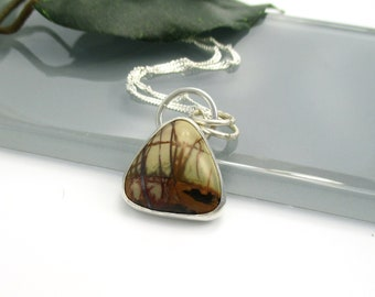 Cherry Creek Jasper Pendant Necklace with Sterling Silver 18 inch Chain