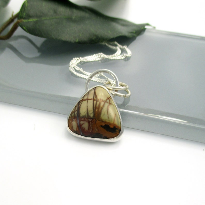 Cherry Creek Jasper Pendant Necklace with Sterling Silver 18 image 0
