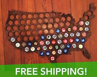 Premium Beer Cap Map of USA - Honey Brown