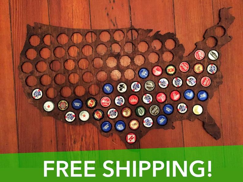 Premium Beer Cap Map of USA  Honey Brown image 1