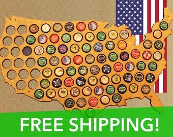 Premium Beer Cap Map of USA - Natural Birch