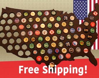 Premium Beer Cap Map of USA - Ebony
