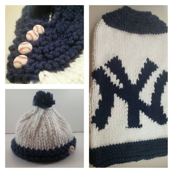 New York Yankees Baby Cozy And Hat Digital Knitting Pattern Etsy