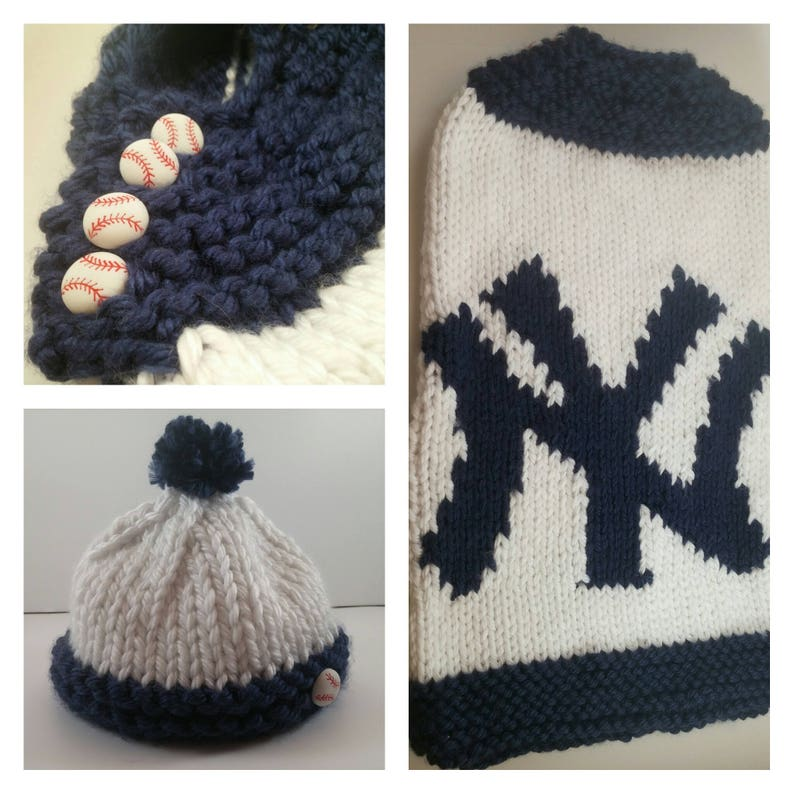 92a78008cef New York Yankees Baby Cozy and Hat Digital Knitting Pattern