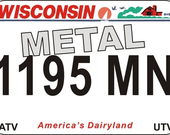 Metal wall sign American number plate Wisconsin