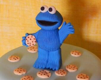 Cookie Monster Sesame Street Inspired Fondant Cake Topper