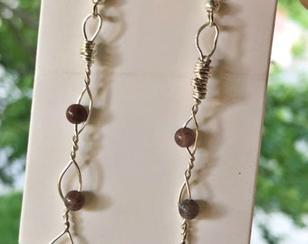 Silver Wire-Wrapped Beaded Earrings
