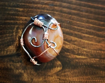 Wire Wrapped Copper Stone Necklace