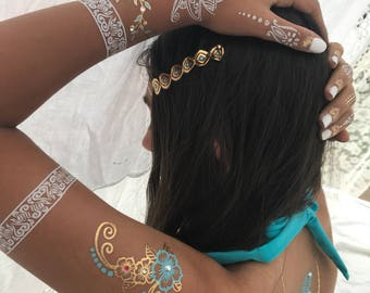 Floral Crystal Tattoos sheet blue gold and crystals included