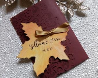 Lasercut Pocketfold Wedding Invitation Sample Bespoke and Personalised Autumn Leaf Design Any Colours