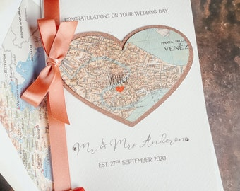 Wedding Card Personalised Map Destination Design Various Colours Personalised Couple Gift