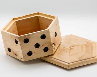 Old School Poker box, Dice Box, Stash Box, Jewelry Box, Game Box, Wood Box, Jewelry Box