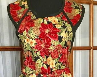 Poinsettia Apron Christmas Poinsettia Apron Christmas Apron Xmas Apron Retro Apron Vintage Apron 40s Apron
