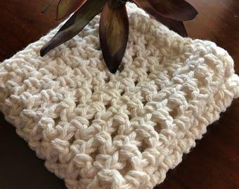 Cotton Washcloth, 100% cotton ivory cotton washcloth, crochet washcloth, cotton washcloth, cotton wash cloth, eco friendly washcloth