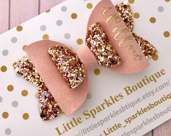 Personalised Pair Of Small Any Name Glitter Hair Bows