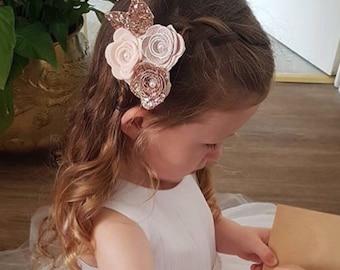 Flower headband, rose cluster, rose gold bow, baby/girl headband, wedding hair, hair accessories, cake smash prop
