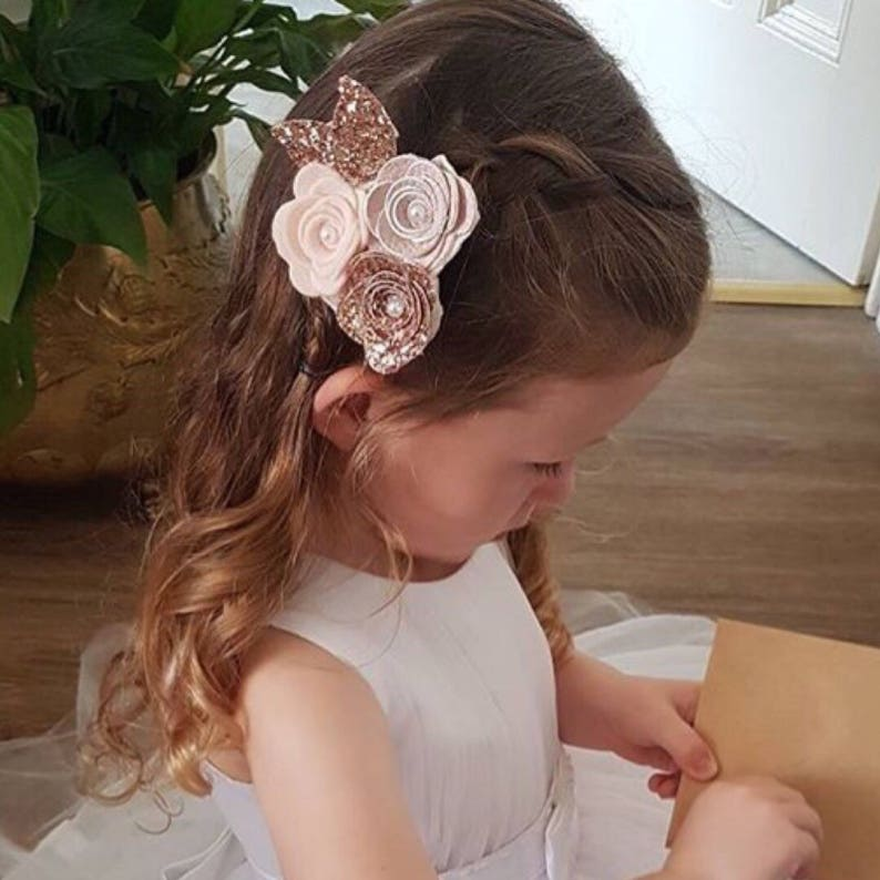 Flower headband rose cluster rose gold bow baby/girl image 0