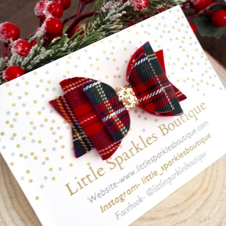 Tartan hair bow baby bow girls hair accessories red tartan bow red hair bow gold hair bow