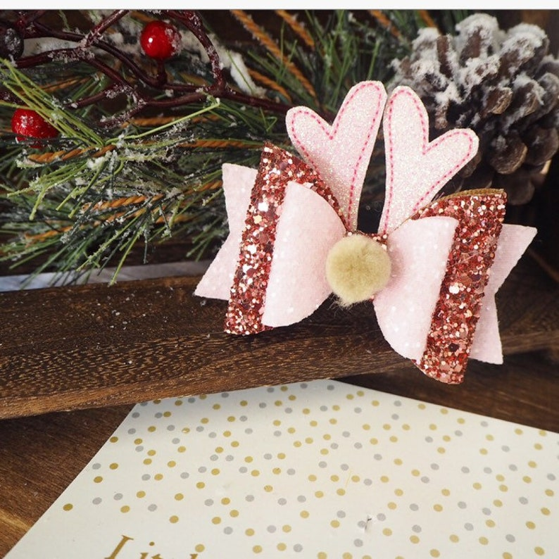 baby hair bow Christmas hair bow rudolf bow rose gold glitter bow Pink hair bow girls hair accessories rose gold bow