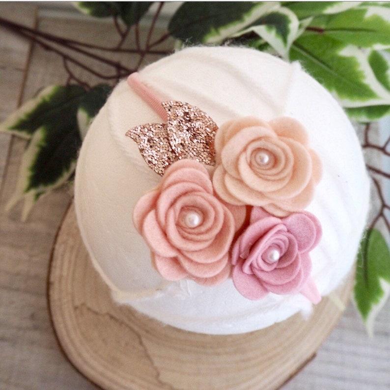 christening headband girls hair accessories baby girl headband rose gold bow,wedding hair Rose cluster,flower headband