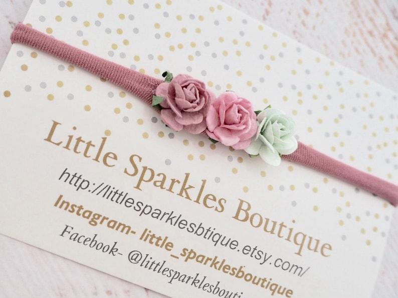 flower headband mint hair bow baby bow wedding hair Pink hair bow girls hair accessories baby headband