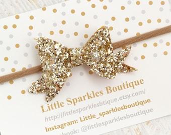 Gold glitter bow, gold hair bow, baby bow, baby/girl hair bow,wedding hair