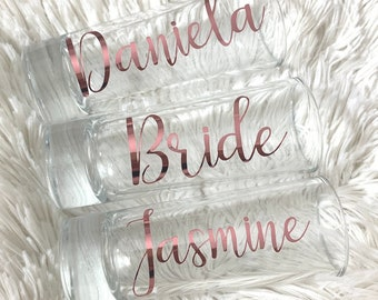 Personalized Shot Glasses, Custom Shot Glasses, Bridal Party Shot Glasses, Bridesmaid Gifts,  Party Favors, Gold Party Favor, Monogram, Gold