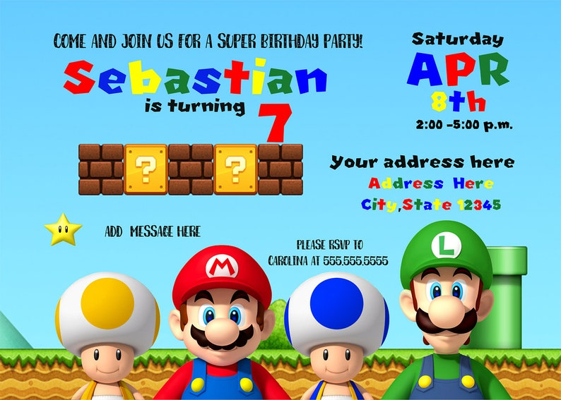 Super Mario Invitation Super Mario Bros Birthday Invitation Etsy