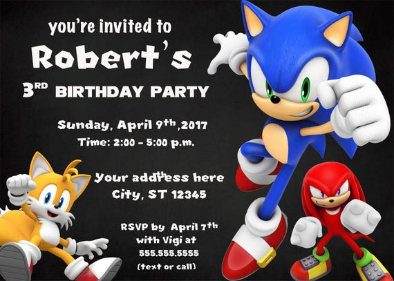 Sonic Birthday Invitation Digital Printable Sonic Etsy
