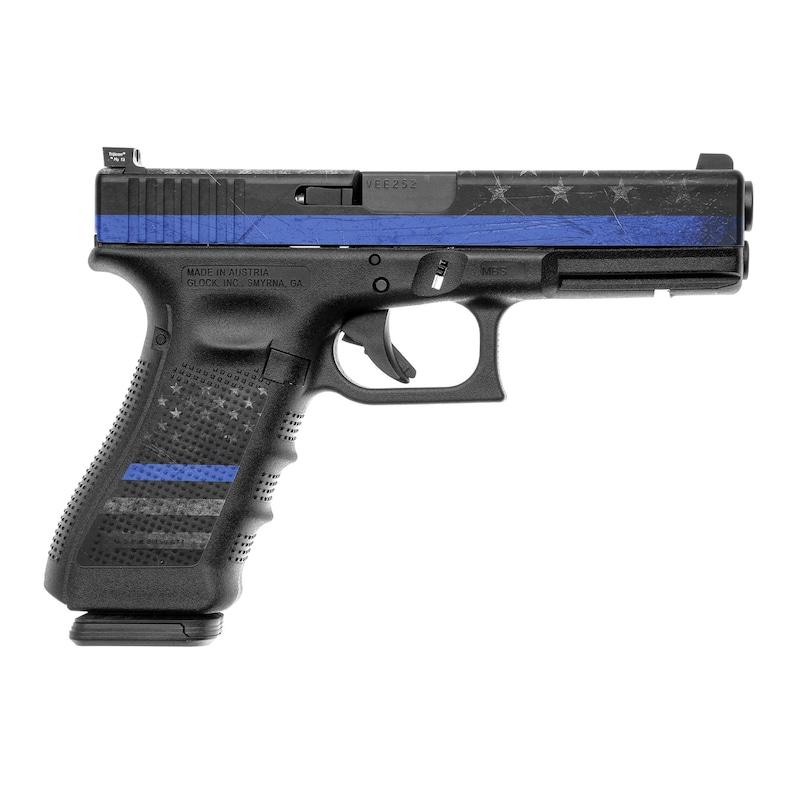 GunSkins Pistol Accent Skin Vinyl Decal Wrap for Glock 17 (GS Thin Blue  Line)