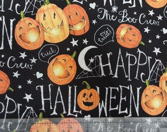 The Boo Crew Pumpkins Halloween Fabric by Springs Creative Pumpkin Halloween Fabric Black and Orange Fabric Scary Fabric