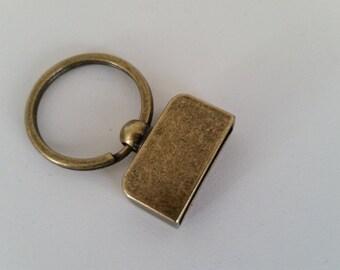 5 Piece Set Screw in 1 inch keychains antique gold Key fob hardware sets designer key chain hardware Antique Gold keychains with screws