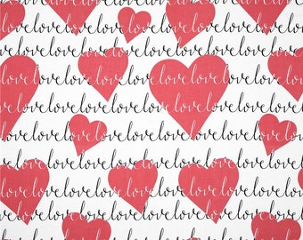 Michael Miller Red Hearts Fabric on White Background Michael Miller Hearts Fabric Cotton