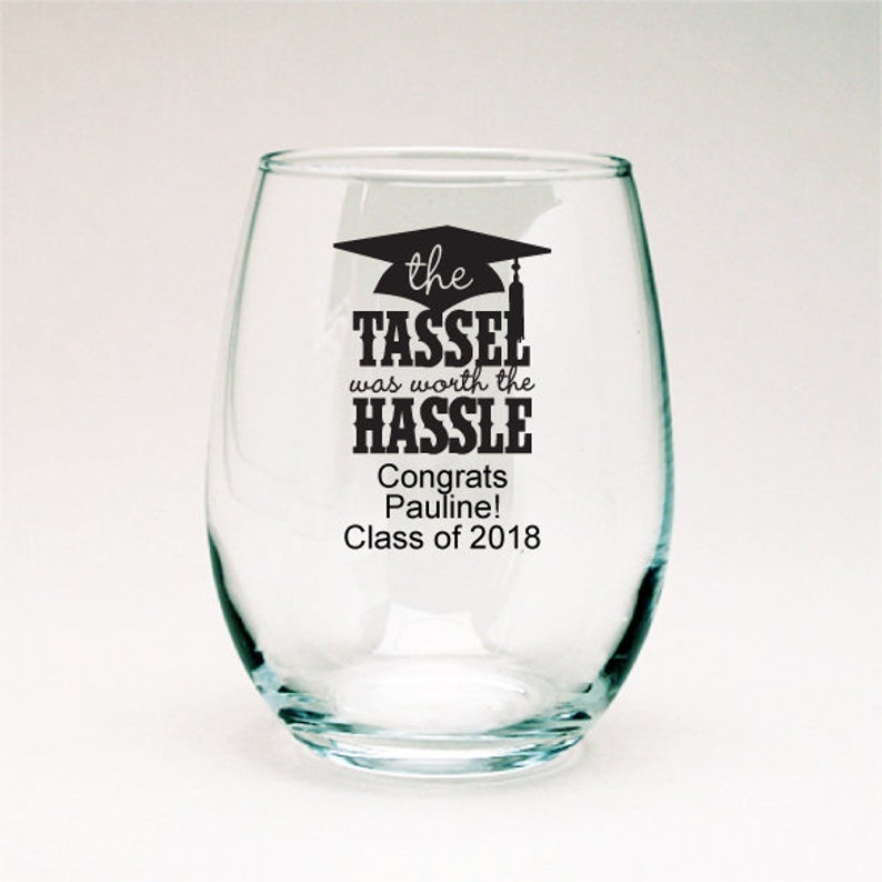 PPD-JM454323B The Tassel is Worth The Hassle Graduation Personalized 9oz Stemless Wine Glass Graduation Favor 24 pcs
