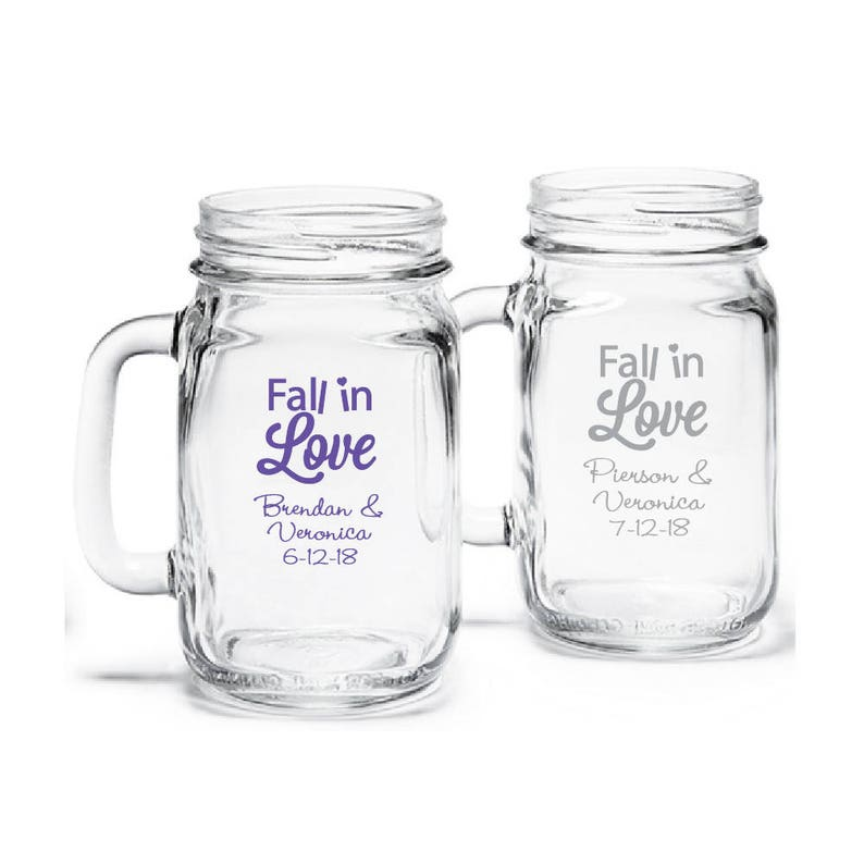 JM907550 24 pcs Fall In Love Design Personalized Mason Jar Drinking Glass
