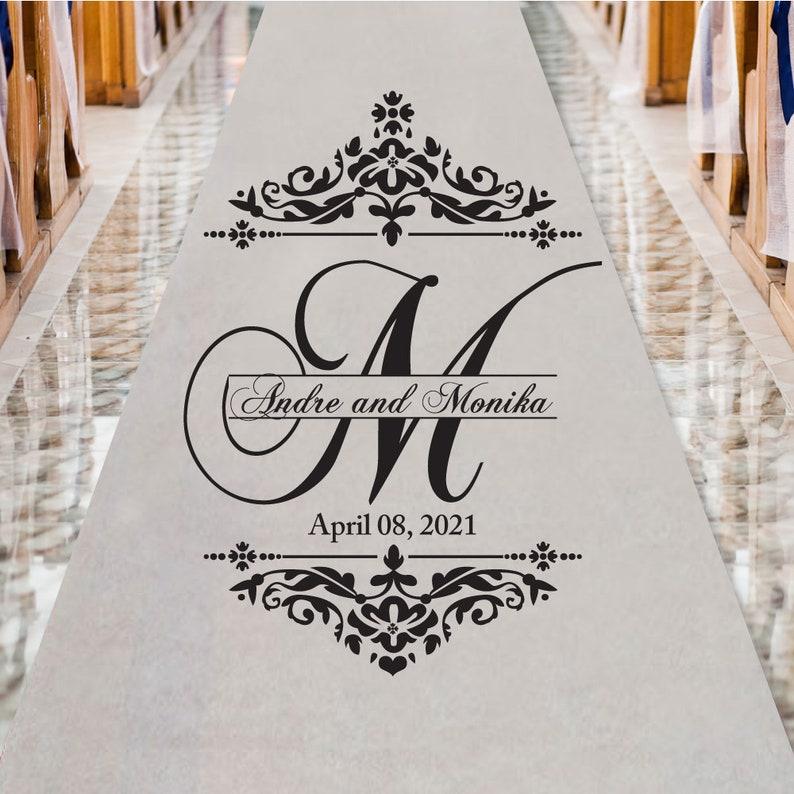 Damask Script Monogram Personalized Aisle Runner Plain White Aisle Runner Entrance 50 Feet Ppd91