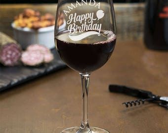 Happy Birthday Personalized Engraved Wine Glass - 18 oz Wine Glass - Birthday Gift - JM6460764-14