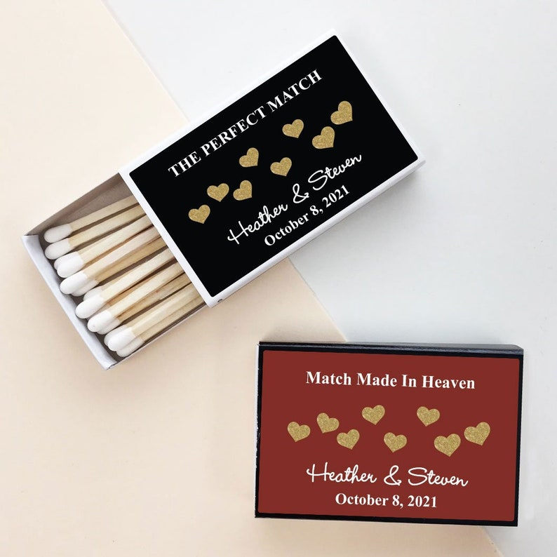 50 pcs Gold Hearts Personalized Matchbox with Stickers PPD-MIC925458 - Assembly Required Wedding Matchbox