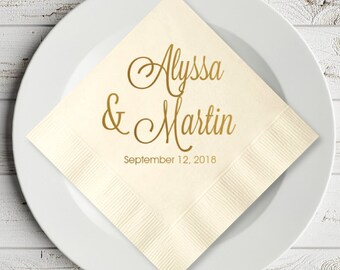100 pcs Elegant Script Personalized Wedding Napkins - Cocktail Napkins