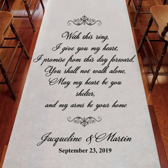 With This Ring I Give You My Heart Personalized Wedding Aisle Runner -  Plain White Aisle Runner - Entrance - (PPD61)