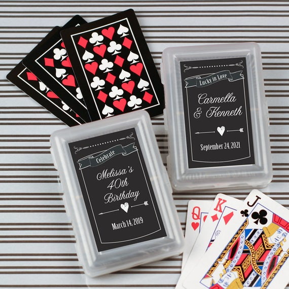 12pcs Chalkboard Personalized Playing Cards Birthday Party Etsy