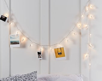 Beau 20 LED 7ft Clip String Lights, Photo String Lights, Twinkle Fairy Lights,  Battery Operated, Room Decor, Artwork, Gallery, Hanging Photos,