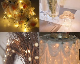 20 LED Copper Mini String Light 7 feet Fairy Lights with Battery Operated Waterproof Wedding Centerpiece Warm White w/ batteries